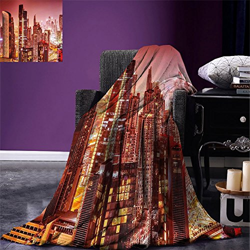 smallbeefly Cityscape Digital Printing Blanket Dubai at Night Cityscape with Tall Skyscrapers Panorama Picture Arabian Peninsula Summer Quilt Comforter Pink Gold by smallbeefly