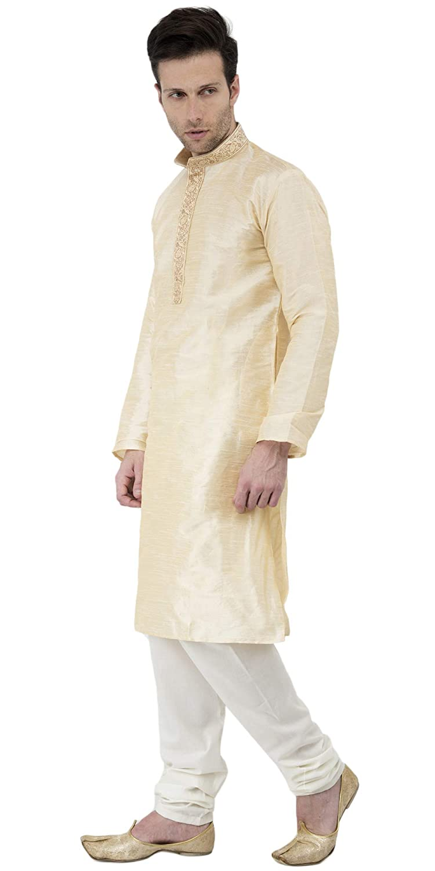 cff24deffa SKAVIJ Men s Dupion Art Silk Traditional Kurta Pajama  Amazon.in  Clothing    Accessories