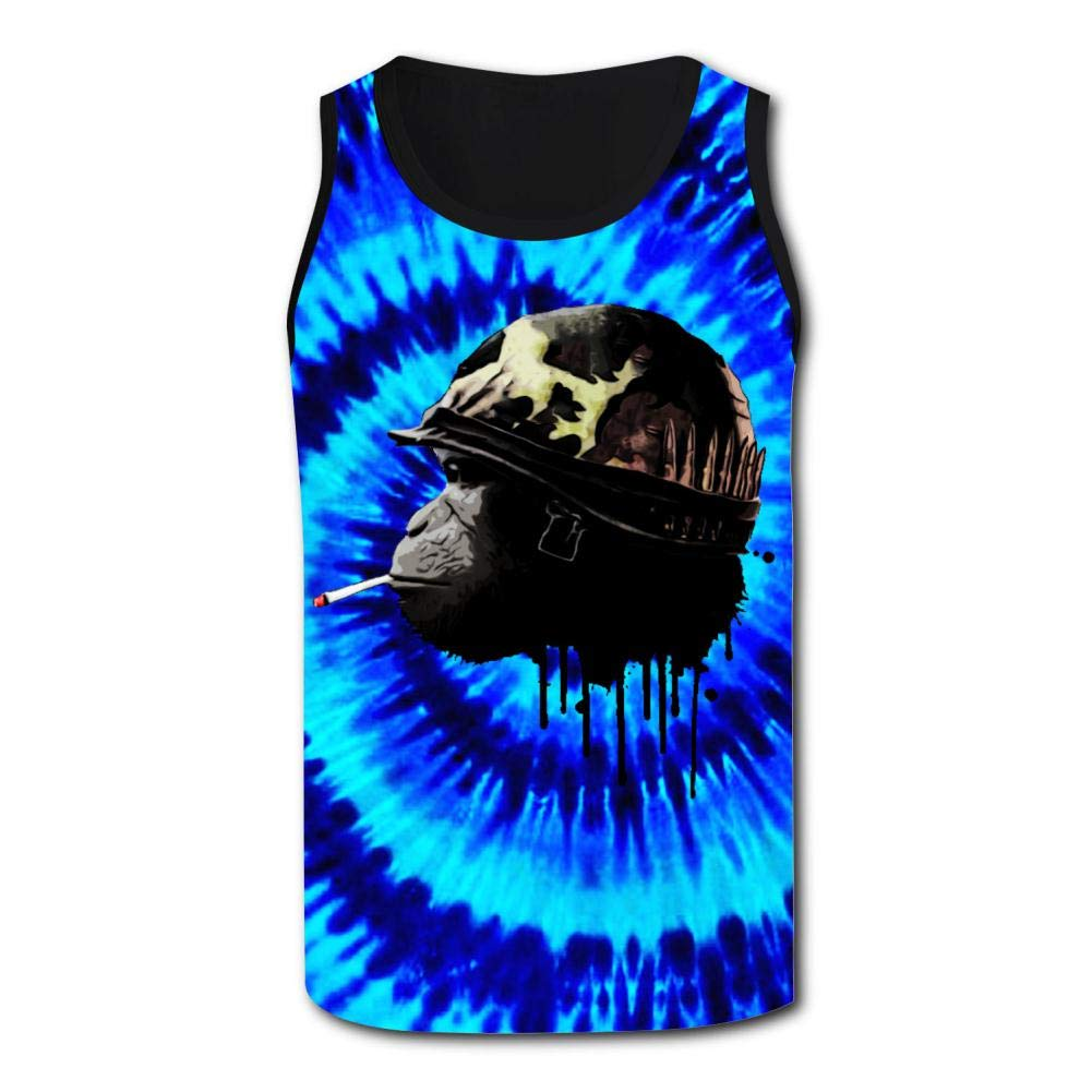 Mens Smoking Monkey Soldier Sports Casual Sleeveless Vest Creative 3D Printed Graphic Hipster Design Sleeveless
