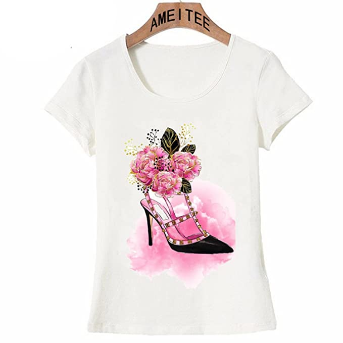 NIKIFLY 2018 Pink Floral high Heels Summer Fashion Women T Shirts Short Sleeve Slim Printed Tops