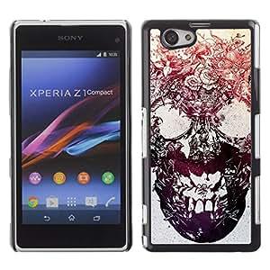 GOODTHINGS Funda Imagen Diseño Carcasa Tapa Trasera Negro Cover Skin Case para Sony Xperia Z1 Compact D5503 - cráneo floral de la tinta del tatuaje del metal