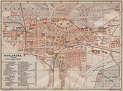 Karte Karlsruhe.Amazon Com Karlsruhe Antique Town City Stadtplan Baden Württemberg