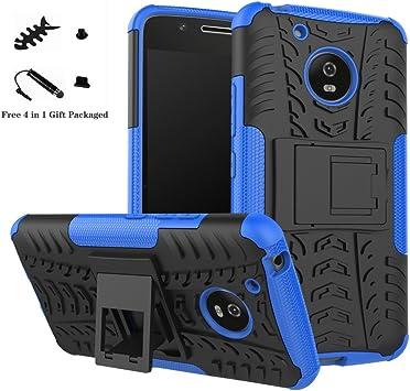 LiuShan Moto G5 Funda, Heavy Duty Silicona Híbrida Rugged Armor Soporte Cáscara de Cubierta Protectora de Doble Capa Caso para Motorola Moto G5 Smartphone,Azul: Amazon.es: Electrónica