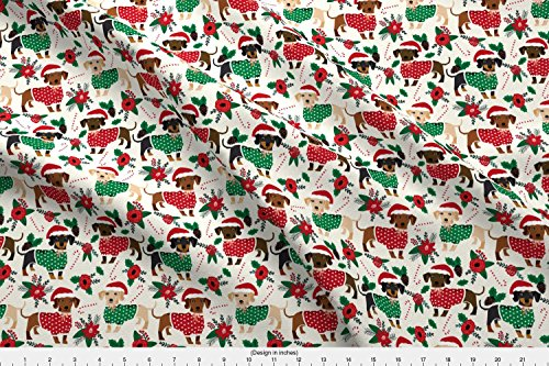 Spoonflower Doxie Fabric Doxie Christmas Fabrics Cute for sale  Delivered anywhere in USA