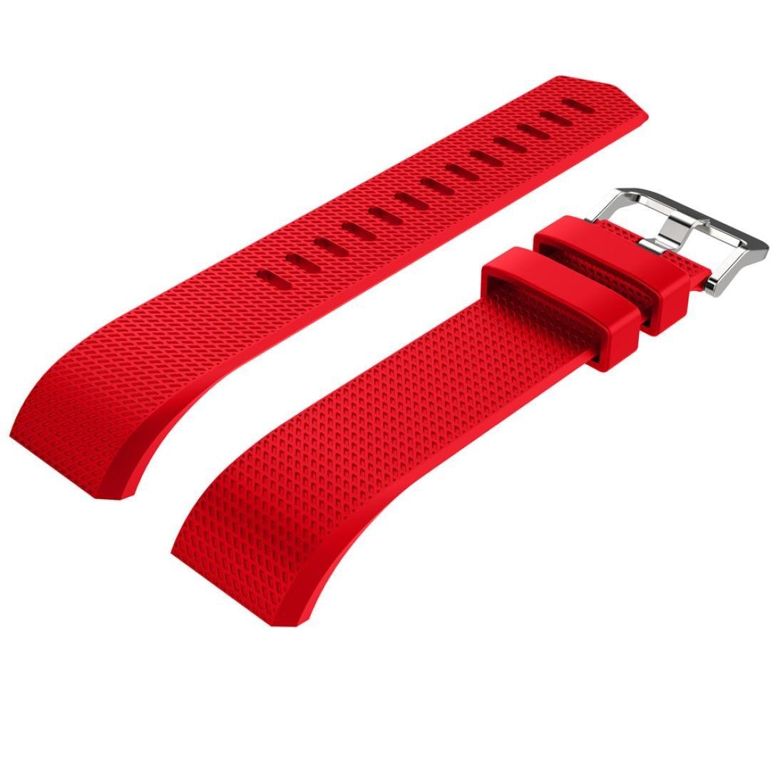 シリコンストラップ、RTYOu ( TM )ライトカラー新しいファッションスポーツシリコンブレスレットストラップバンドfor Fitbit Charge 2  レッド B077X6YS7G
