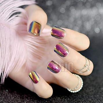 24 Stiletto falsos coffin falsos uñas ceromel cromo francés uñas purpurina acrílico largo redondo natural uñas UK: Amazon.es: Belleza