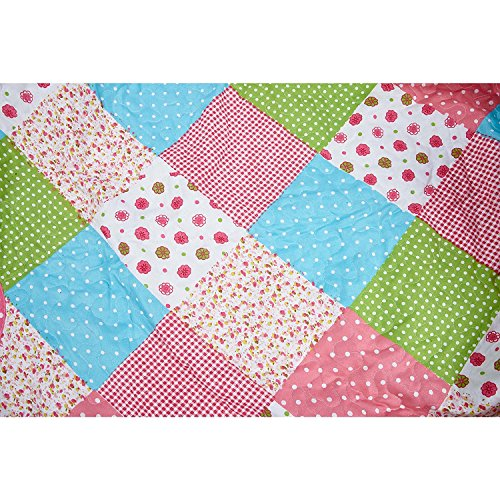 Elegant Home Cute Beautiful Girls Mutlicolor Pink White Blue Green Dots Diamond Patchwork Floral Design 2 Piece Coverlet Bedspread Quilt for Kids Teens / Girls Twin Size # 4-157