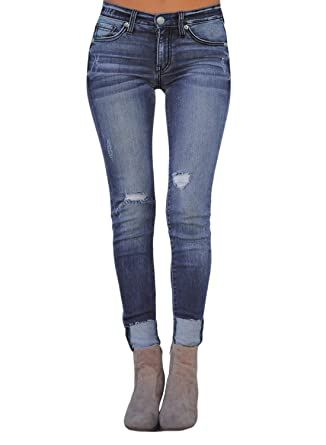 5ca70e9614c7 BLENCOT Womens Ladies Fashion Basic Roll up Distressed Slim Fit Ripped  Skinny Stretch Jeans Blue Small