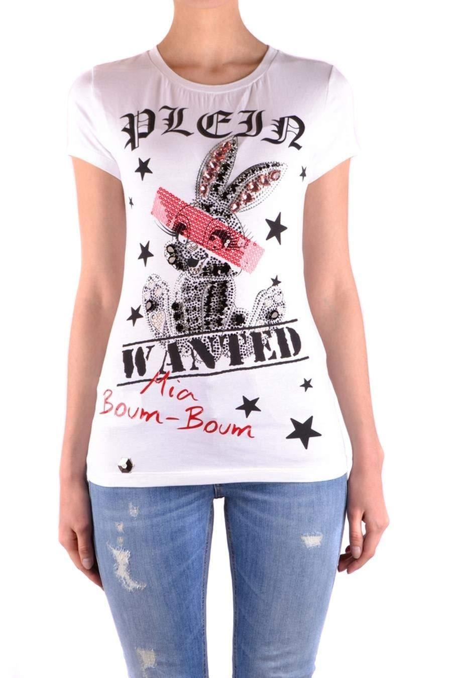 Brand Size M PHILIPP PLEIN Women's WTK0658PJY002N01 White Cotton TShirt