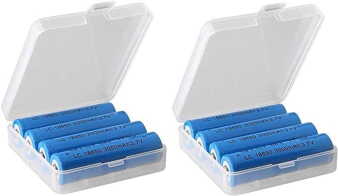 DealMux 18650 Caja de Almacenamiento de batería Organizador de Caja Soporte de plástico Duro Soporte de plástico Recipiente Protector (2 Piezas): Amazon.es: Electrónica