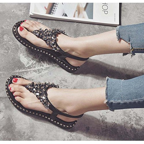 CHANCLAS SANDALS Sandalias verano femenino playa zapatos estudiante femenina plana versión coreana de la carpeta simple clip toe Bohemian sandalias elegante ( Color : Negro , Tamaño : EU36/UK3.5/CN35  Negro