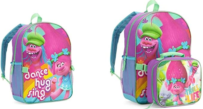 "Trolls Poppy Backpack 16/"" Kids School Book Bag Full Size"