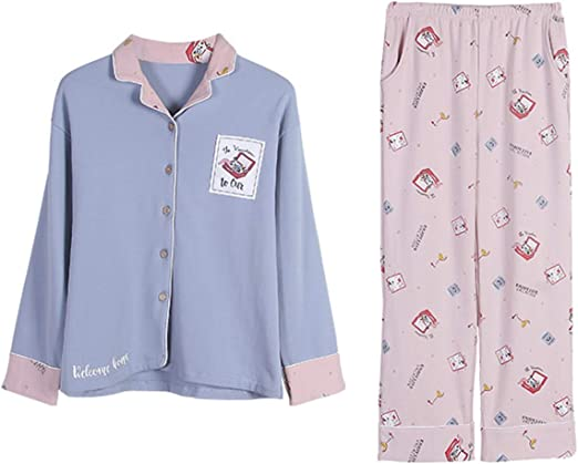 AIBAB Mujer Chaqueta De Solapa Pijama Pantalon Manga Larga Algodón Ropa Casual Traje De 2 Piezas: Amazon.es: Hogar