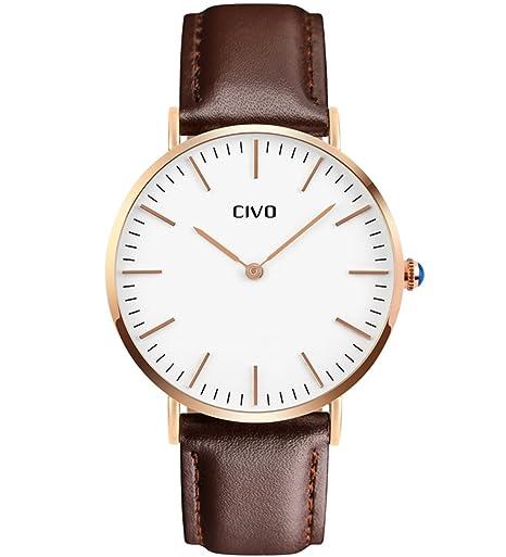 CIVO Relojes para Hombres Correa de Cuero Analógico Cuarzo Reloj de Pulsera Moda Lujo Sencillo Clásico