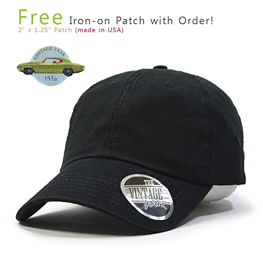 b65db9aa7243c Vintage Year Washed Cotton Twill Low Profile Adjustable Dad Hat Baseball Cap  with Free Patch (