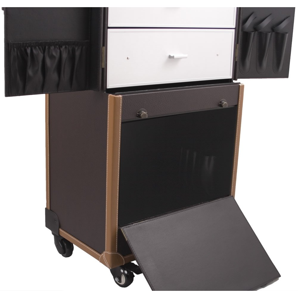SUNRISE Makeup Rolling Case C6019 Hair Stylist Station, Faux Leather 4 Wheel Spinner, Trays, Drawers, Locking with Mirror, Brown by SunRise