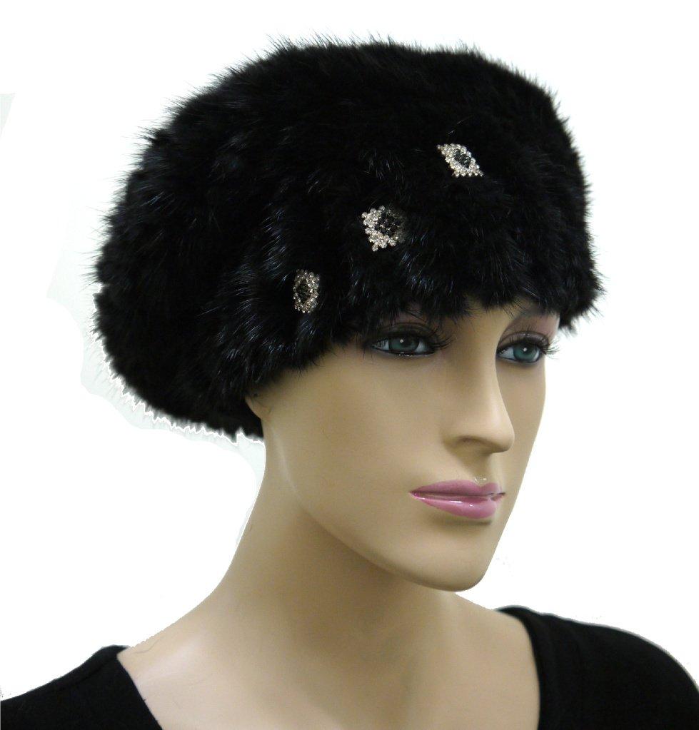 Women's Mink Knit Hat with Rhinestone Pins - Black