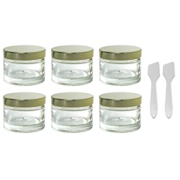 af6d2d0e7c2f Amazon.com : Clear Glass 1 oz 30 ml Heavy Wall Balm Jars with Gold ...
