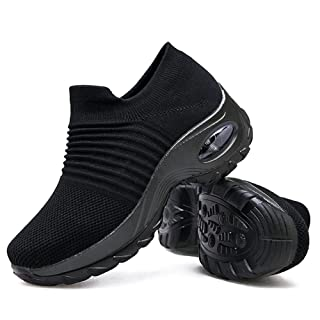 Women's Walking Shoes Sock Sneakers - Mesh Slip On Air Cushion Lady Girls Modern Jazz Dance Easy Shoes Platform Loafers Pure Black,8