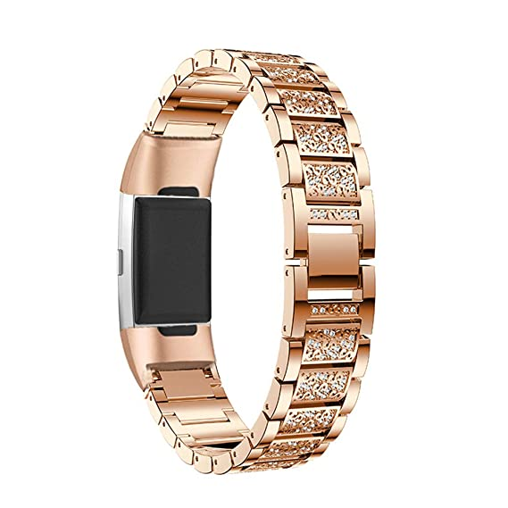 for Fitbit Charge 3 Band for Women, Aottom Fitbit Charge 3 SE Bands  Stainless Steel Rhinestone Diamond Replacement Band Wirst Bands Jewelry  Bracelet