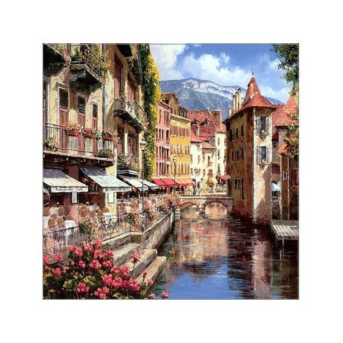 - Creative Modern Art France Annecy afternoon Cafe town Watercolor Painting Canvas Print Wall Art 16