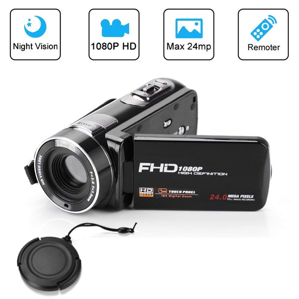 Digital Camcorder, Mengyasi Portable Video Camcorder with IR Night Vision HD 1080P 24MP 16X Digital Zoom Remote Control Handheld Camcorder with 3'' LCD Screen (2 Batteries Included)