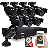 ZOSI 8CH HDMI CCTV DVR 1TB Hard Drive Pre-installed + 8 In/Outdoor 800TVL Surveillance Security Camera System, Real Time with Web Server for Remote Viewing and Operation, Backup