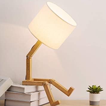 Haitral Bedroom Table Lamp Fun Desk Lamps With Wooden Base Unique Table Lamps For Kids Room Living Room Bedroom Office Reading Room Amazon Com