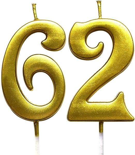 Amazon.com: Magjuche - Vela con número 62 para cumpleaños ...