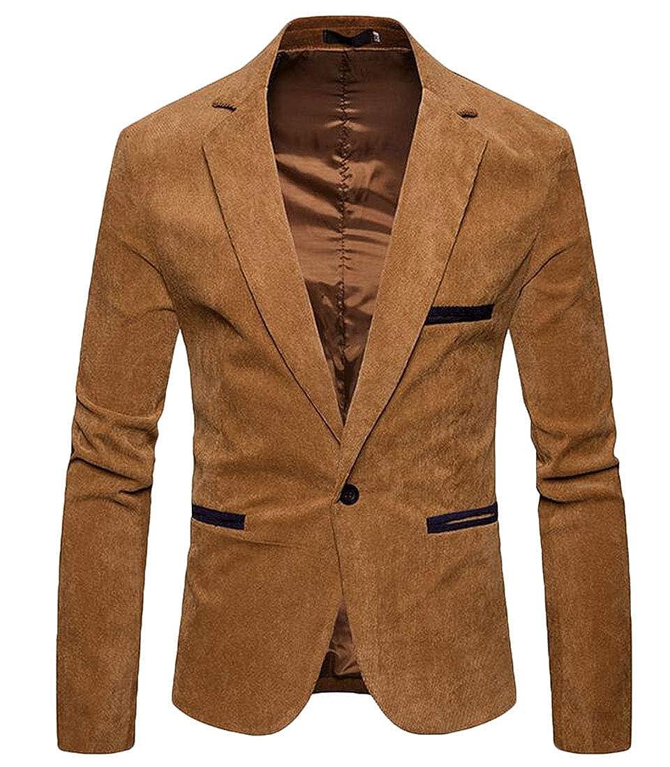 MU2M Men Long Sleeve Corduroy Lapel Curvy Button Suit Jacket Blazer Coat