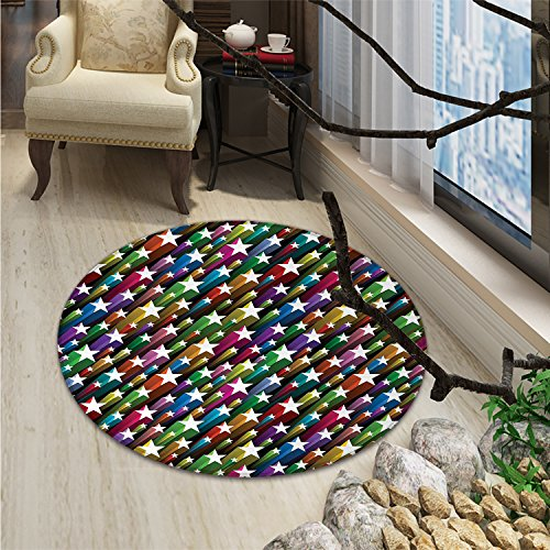 Colorful Round Area Rug Colorful Stars Pattern Celebration Theme Disco and Nightclubs Artistic Jolly FunOriental Floor and Carpets Multicolor