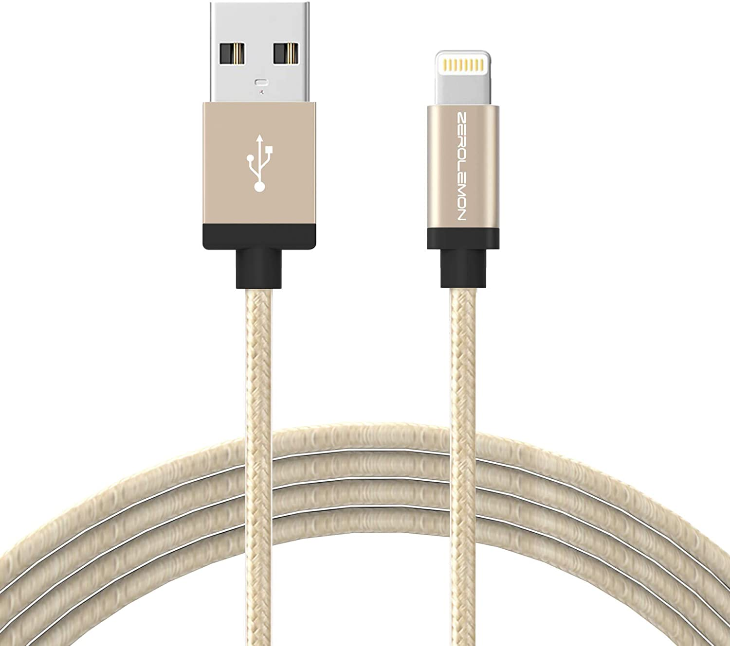 iPhone Charger [Apple MFi Certified], ZeroLemon Lightning to USB Rugged Nylon Cable 6.4 Feet/2 Meter + Aluminum Cap for iPhone 11/Pro/Max/XS Max/XR, 10.2'' Ipad 2019 and More - Rugged Gold