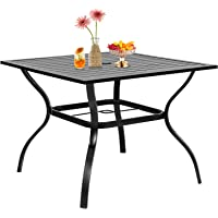 INEFFABLE Metal Patio Table Outdoor Dining Table Rectangular Patio Table Patio Side Table with Umbrella Hole Black