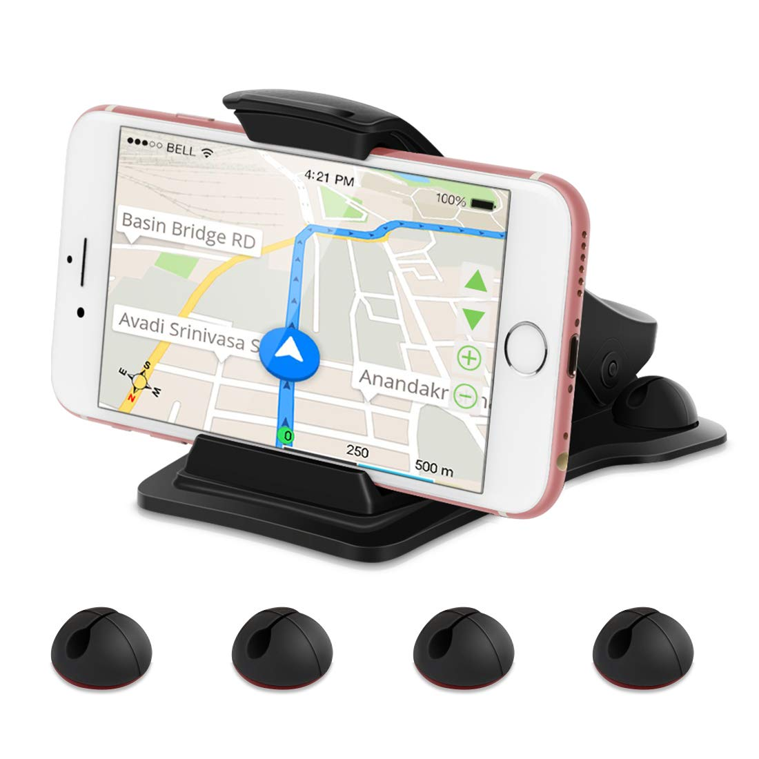 Leelbox Phone Holder for Car Dashboard Cell Phone Holder Mount Stand with 5 Cable Clips and Strong Sticky Pads Universal for 3-6.5 inch Smartphone or GPS Devices Black 4351484834 Car Phone Mount