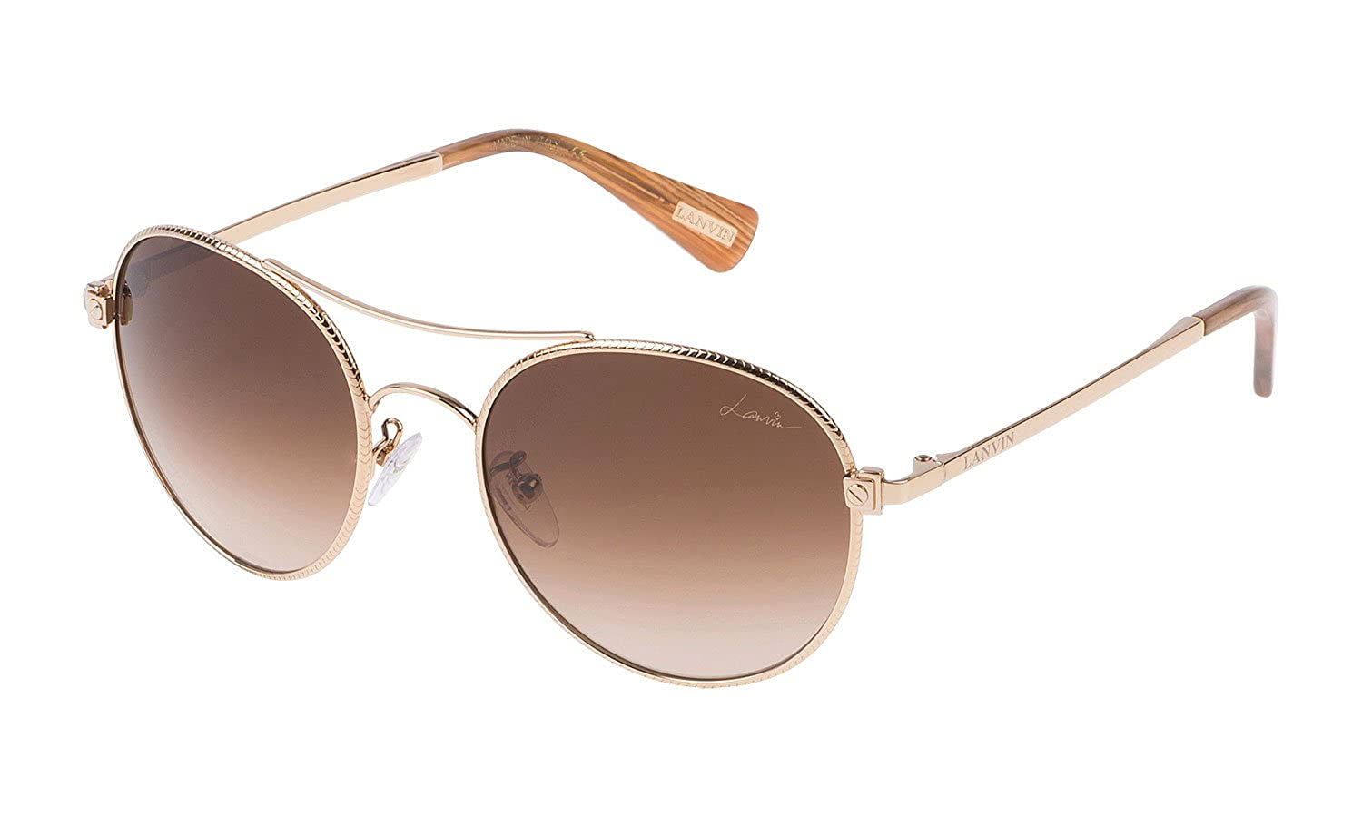 0c0f6b380 Amazon.com: Lanvin Paris SLN067 300 Gold SLN067 Round Sunglasses Lens  Category 3 Lens Mirro: Clothing