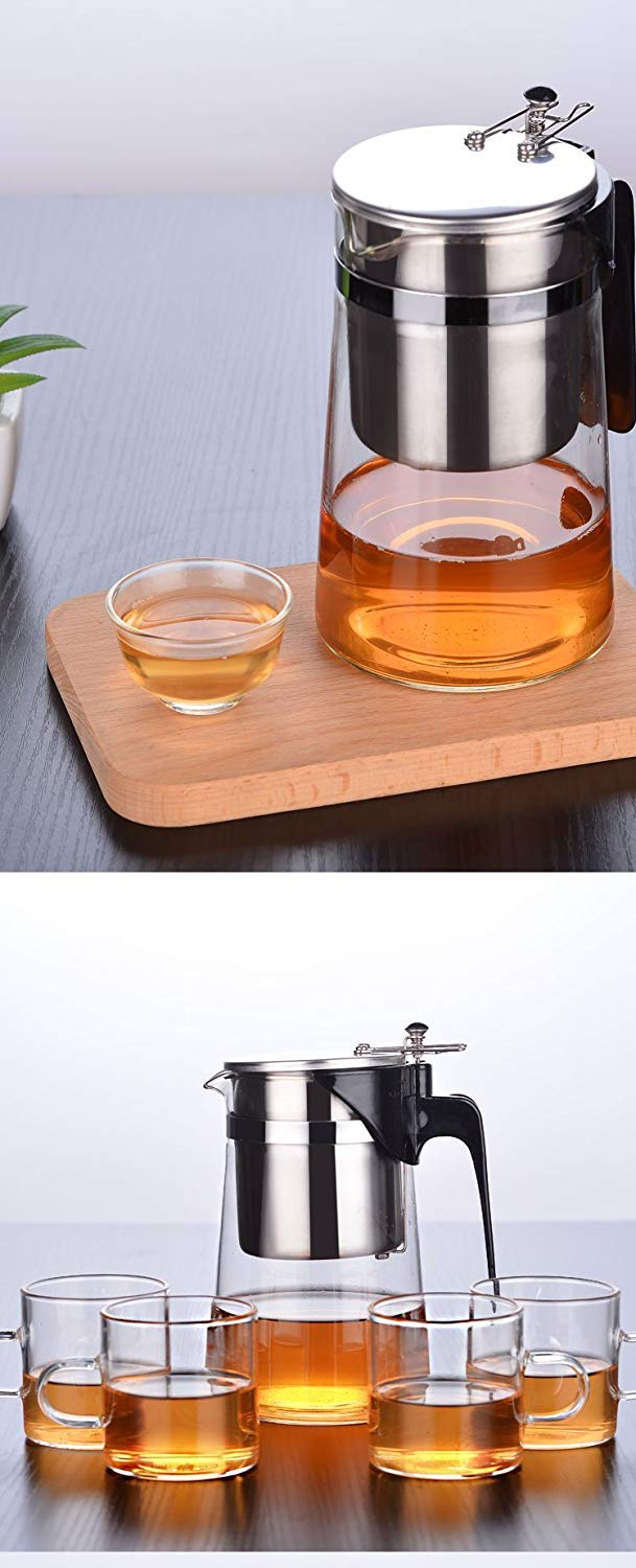 Exquisite Tea Cups Saucers Set Set Coffee Cup Teapot Glass Tea Washable Filter 304 Stainless Steel Liner Exquisite Cup high Temperature by Kinue