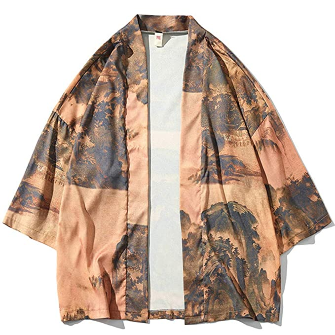 Chaqueta de Kimono para Hombres Verano Casual Impresión ...
