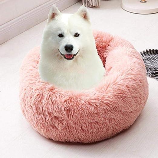 Cama redonda para perros Lavable de felpa larga Perrera Casa para ...