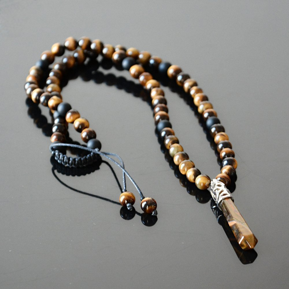 Mens Necklace Protection Pendant Red Tigers Eye and Black Onyx Necklace Inner Strength necklace Healing Jewelry for Grounding