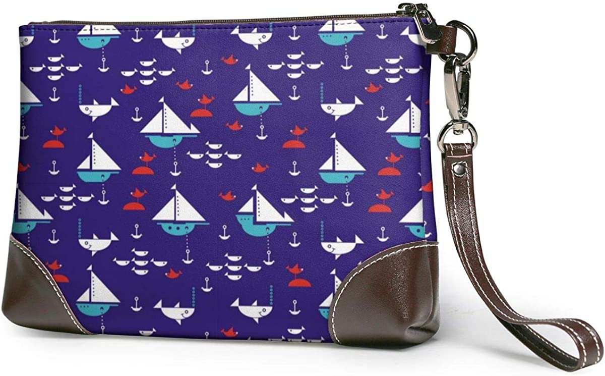 Sailboats With Anchors Sharks Fish And Sea Gulls Women's Cute Genuine Leather Clutch, Wristlet Purse Wallet