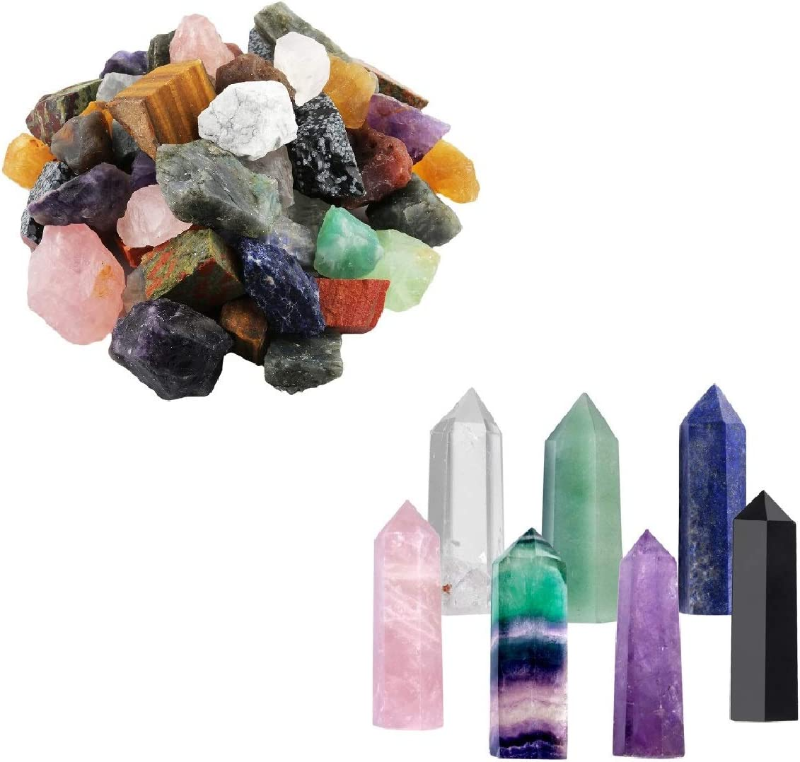 mookaitedecor Bundle - 2 Items: 1 lb Bulk Natural Raw Crystals Rough Stones & 7 PCS Healing Crystal Wands Reiki Stone for Meditation Therapy Decor
