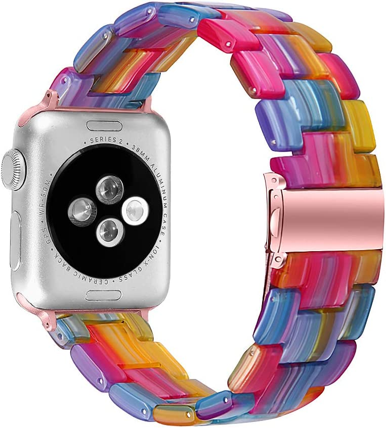 MEFEO Compatible with Apple Watch Band 38mm 40mm 42mm 44mm, Stylish Resin Bands Bracelet Replacement for iWatch Series 6 Series 5/4/3/2/1 & iWatch SE Women Men (Rainbow, 42mm/44mm)