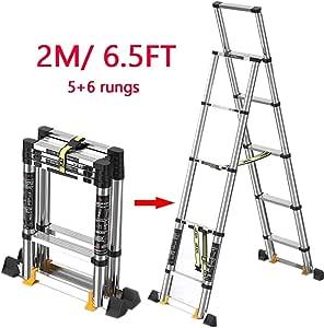 AFDK Escalera con peldaños de extensión Holdhouse de 2M / 6.5 pies con barra de mano, escaleras portátiles plegables de aluminio con patas antideslizantes: Amazon.es: Bricolaje y herramientas