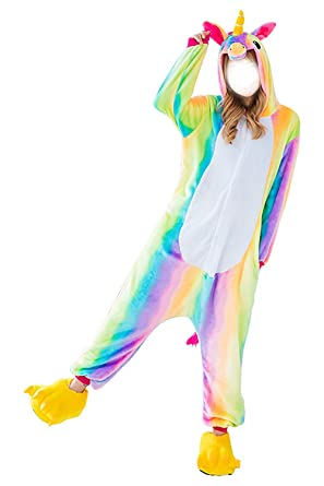 ABaowedding Adult Pajamas Costumes Unicorn Cosplay Animal Jumpsuits Sleepwear Onesie Women (L, Rainbow)