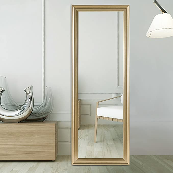 NeuType Full Length Mirror Floor Mirror PS Finished Frame Dressing Mirror Champagne Gold Leaner Mirror Bedroom/Locker Room Standing Mirror