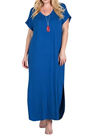 c2c29ccbe1b Annystore Womens Plus Size Short Sleeve Plain Pockets Casual Loose Pregnant Long  Maxi Dress at Amazon Women's Clothing store: