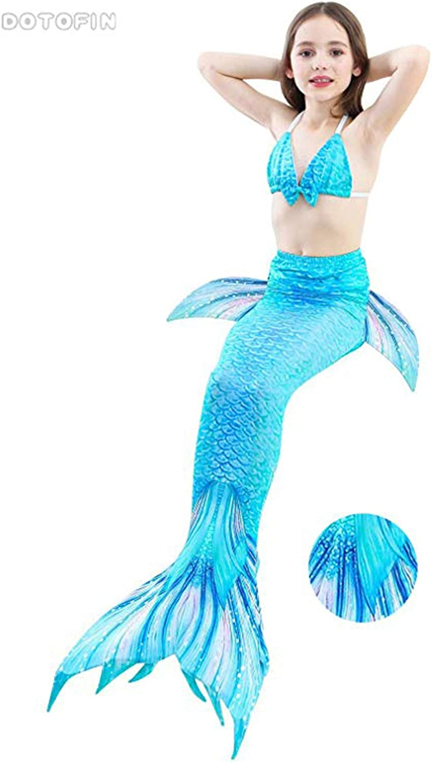 Swimming Costume Swimsuit With Fin DOTOFIN Mermaid Tails Sky Blue Scales Girls Swimmable Mermaid Tail Swimsuit Swimwear With Monofin Child 8