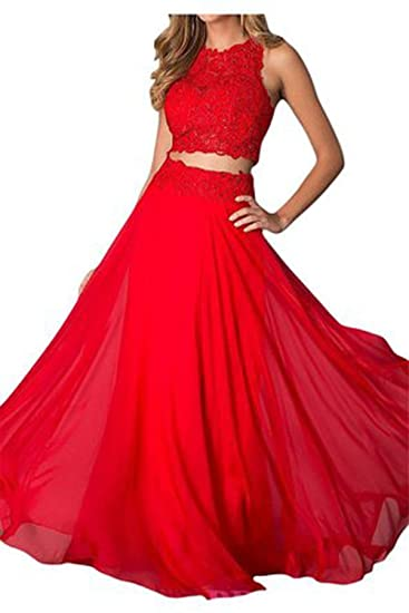 Vickyben Womens Two Pieces lace long Evening Dress Ball Gown Prom Dress Bridesmaid Dress Gown