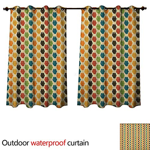 Anshesix Owls Home Patio Outdoor Curtain Retro Styled Colorful Animal Silhouettes with Grunge Display Halloween Inspirations W55 x L72(140cm x -