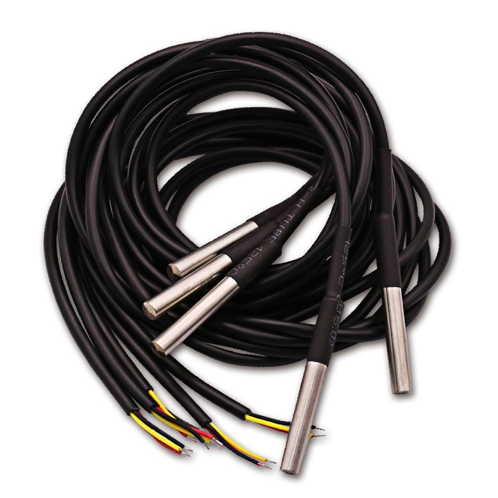 Cenrykay DS18B20 Temperature Sensors Waterproof Stainless Seel for Digital Temperature Measurement 1m 5pcs